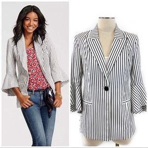 CAbi #5295 Striped Bell Sleeve Blazer
